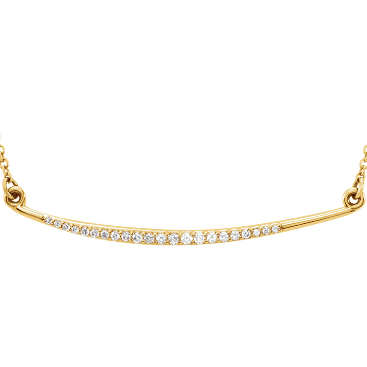 96920cc2d57ee ... (NEW) BELLA COUTURE Fine Delicate Diamond Curved Bar 14K Yellow Gold  Pendant Necklace ...