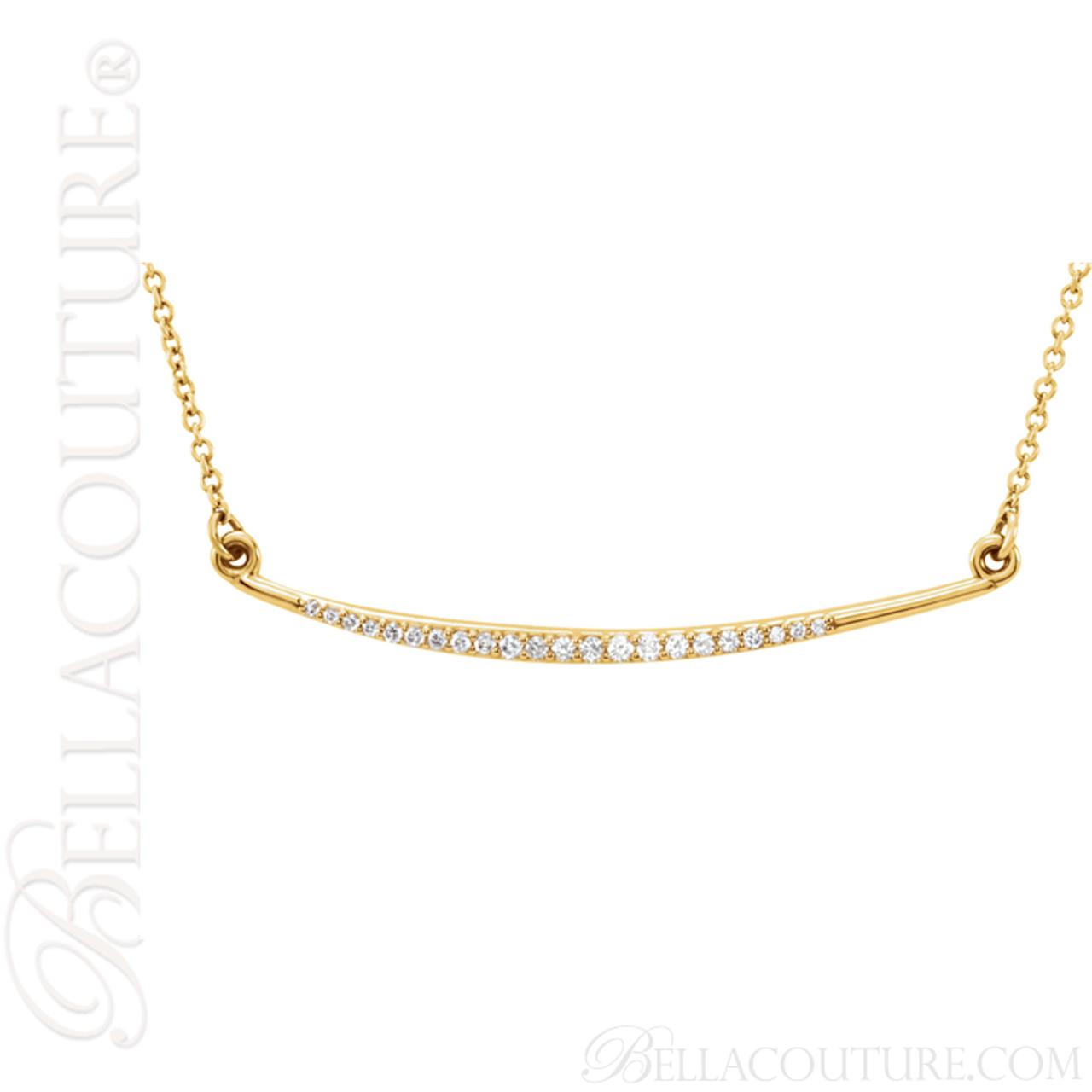 67cbf8086 (NEW) BELLA COUTURE Fine Delicate Diamond Curved Bar 14K Yellow Gold  Pendant Necklace (16
