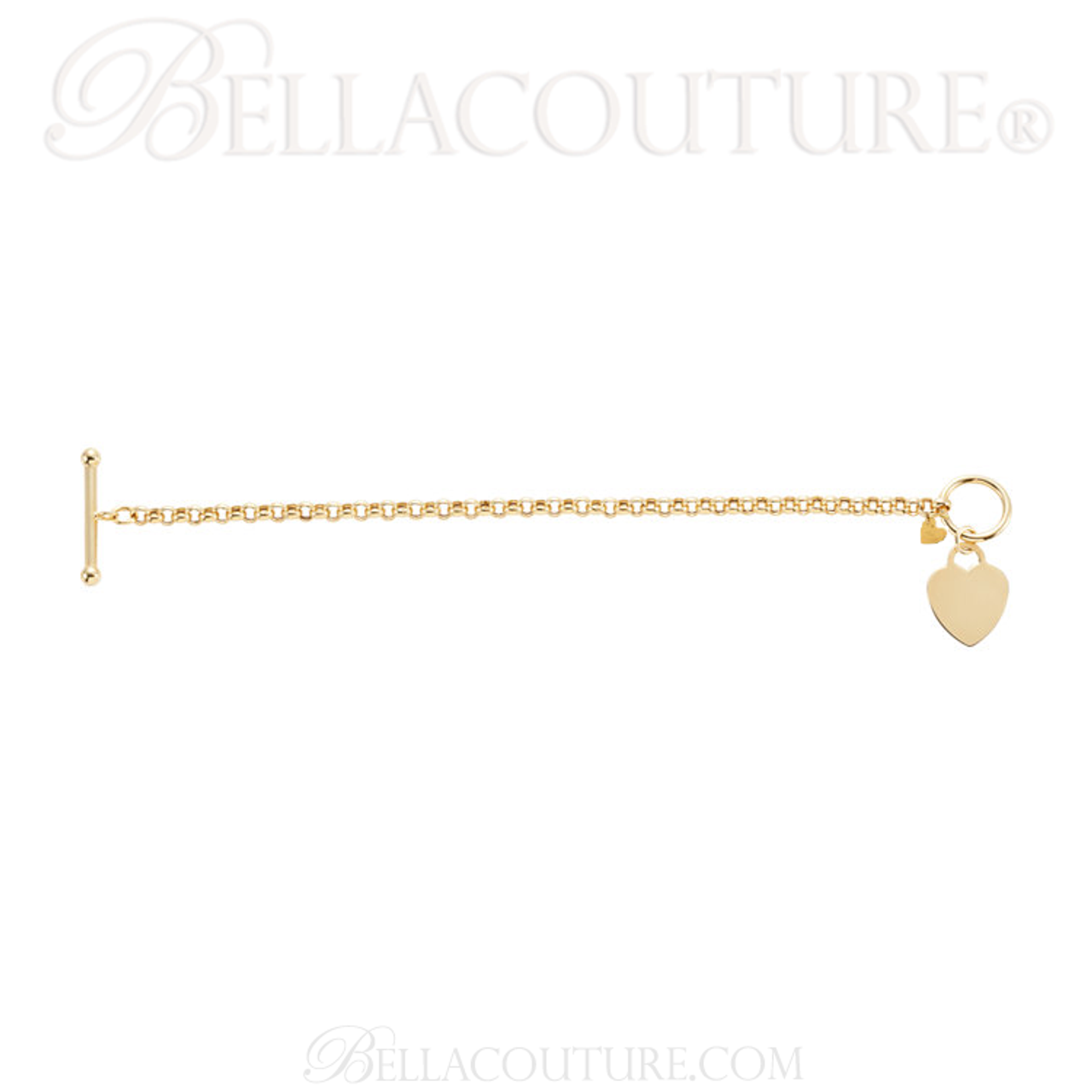 27fe888ba (NEW) BELLA COUTURE® Fine 14K Solid Yellow Gold Double Heart Rolo Chain  Charm