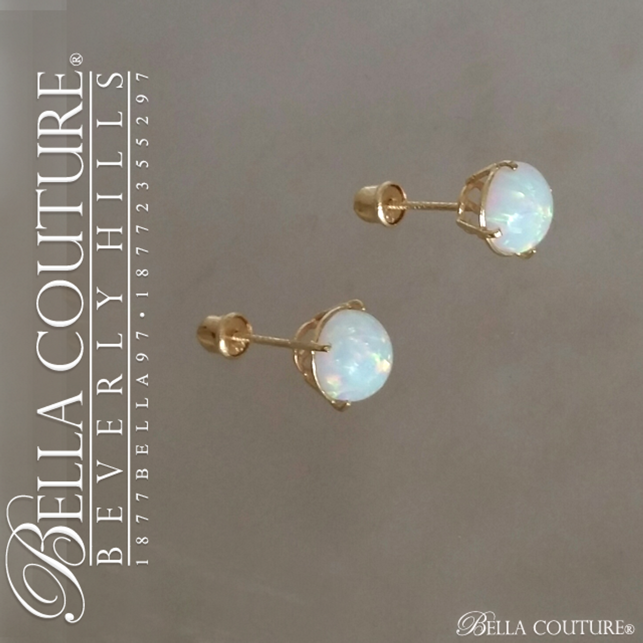 114a8d229 (VINTAGE) Rare Gorgeous Genuine 6.5MM Opal Gemstone 14K Yellow Gold  Solitaire Earrings - BELLA COUTURE ®