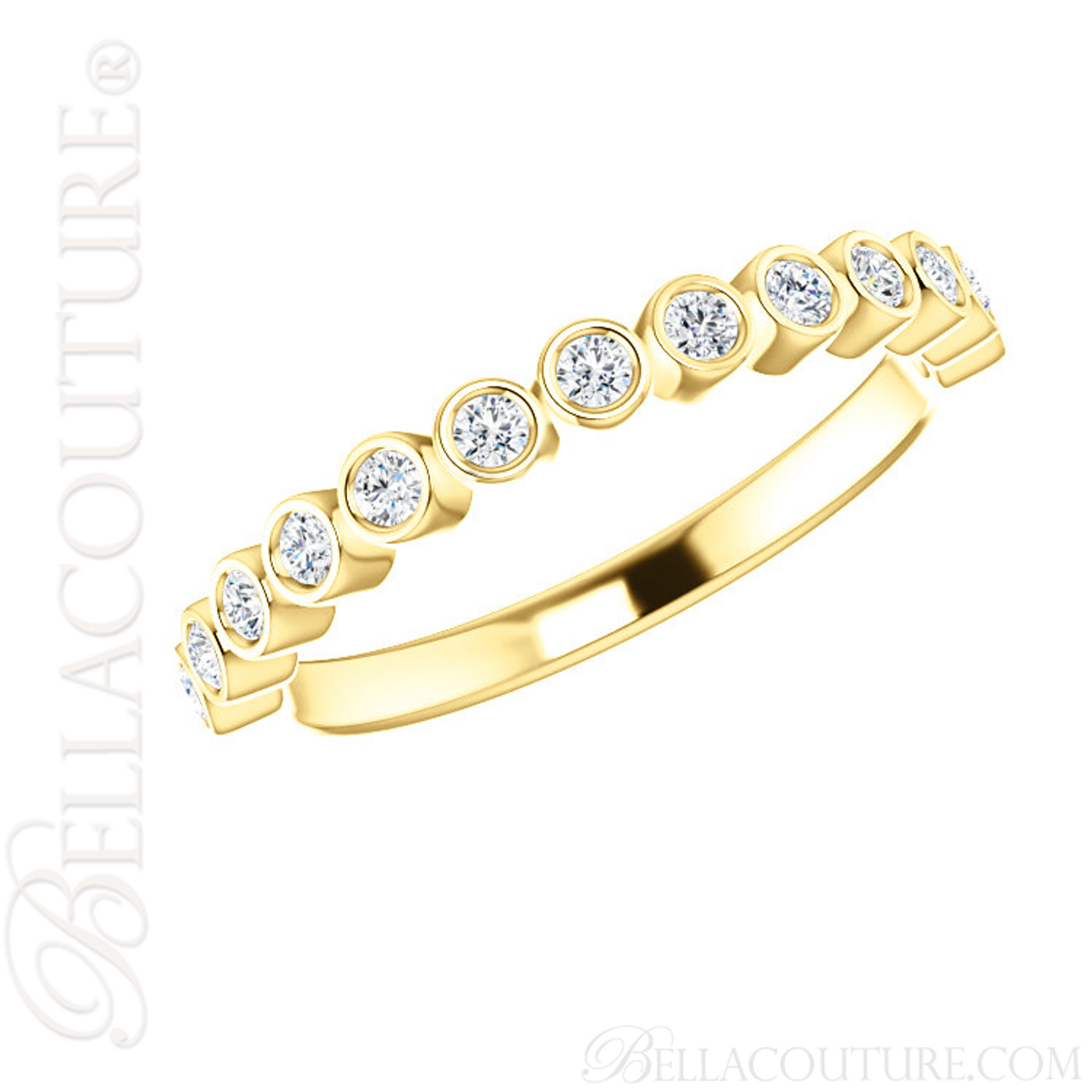 0854990c9 (NEW) BELLA COUTURE BEILSON Fine Diamond Bezel Set 14K Yellow Gold  Stackable Ring Band (1/4 CT. TW.) - BELLA COUTURE ®