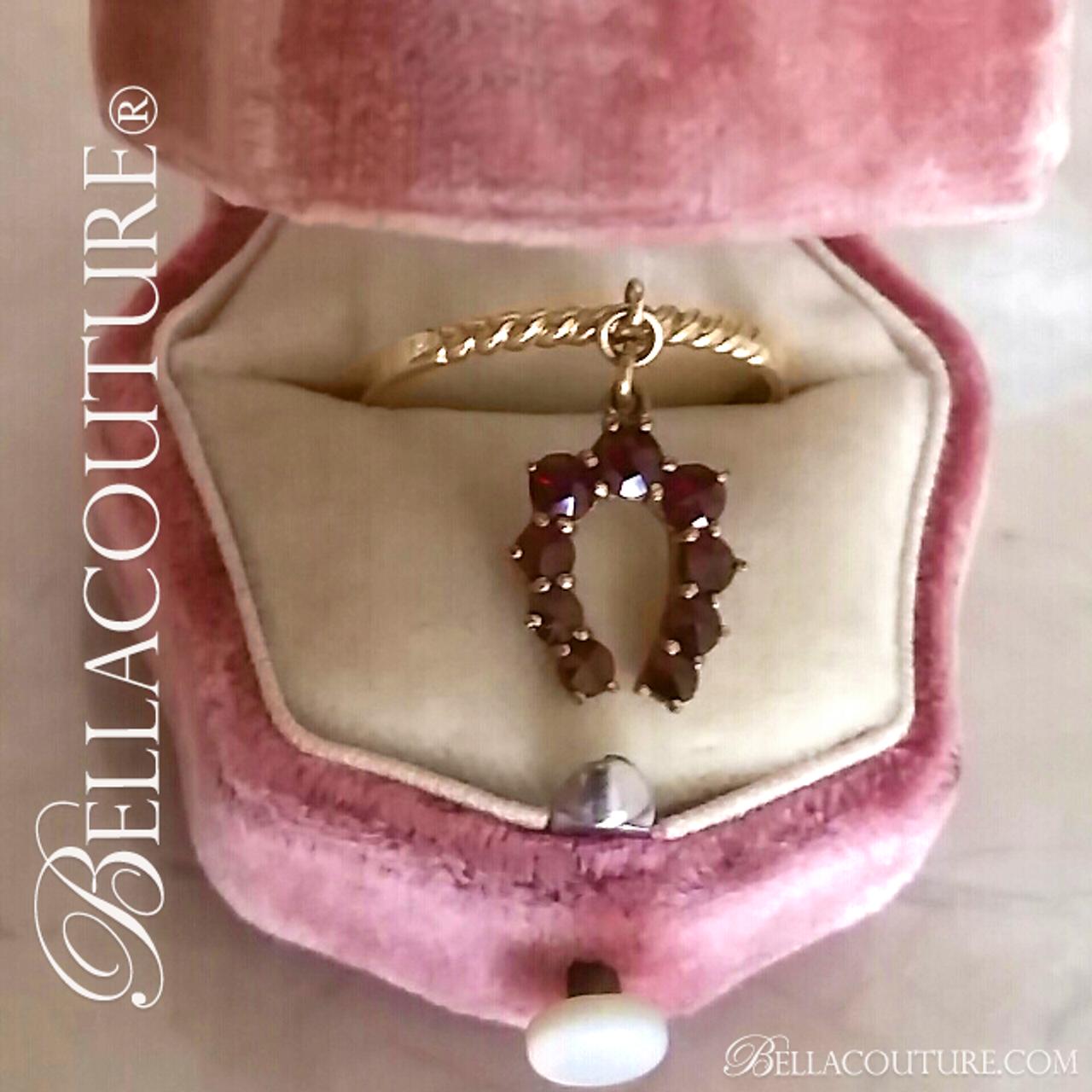 318d7f0b16b9a SOLD! - (ANTIQUE) Rare Gorgeous Victorian 14K 14CT Yellow Gold Natural Rose  Cut Garnet Gemstone Dainty Horseshoe Good Luck Dangle Drop Charm Ring c. ...