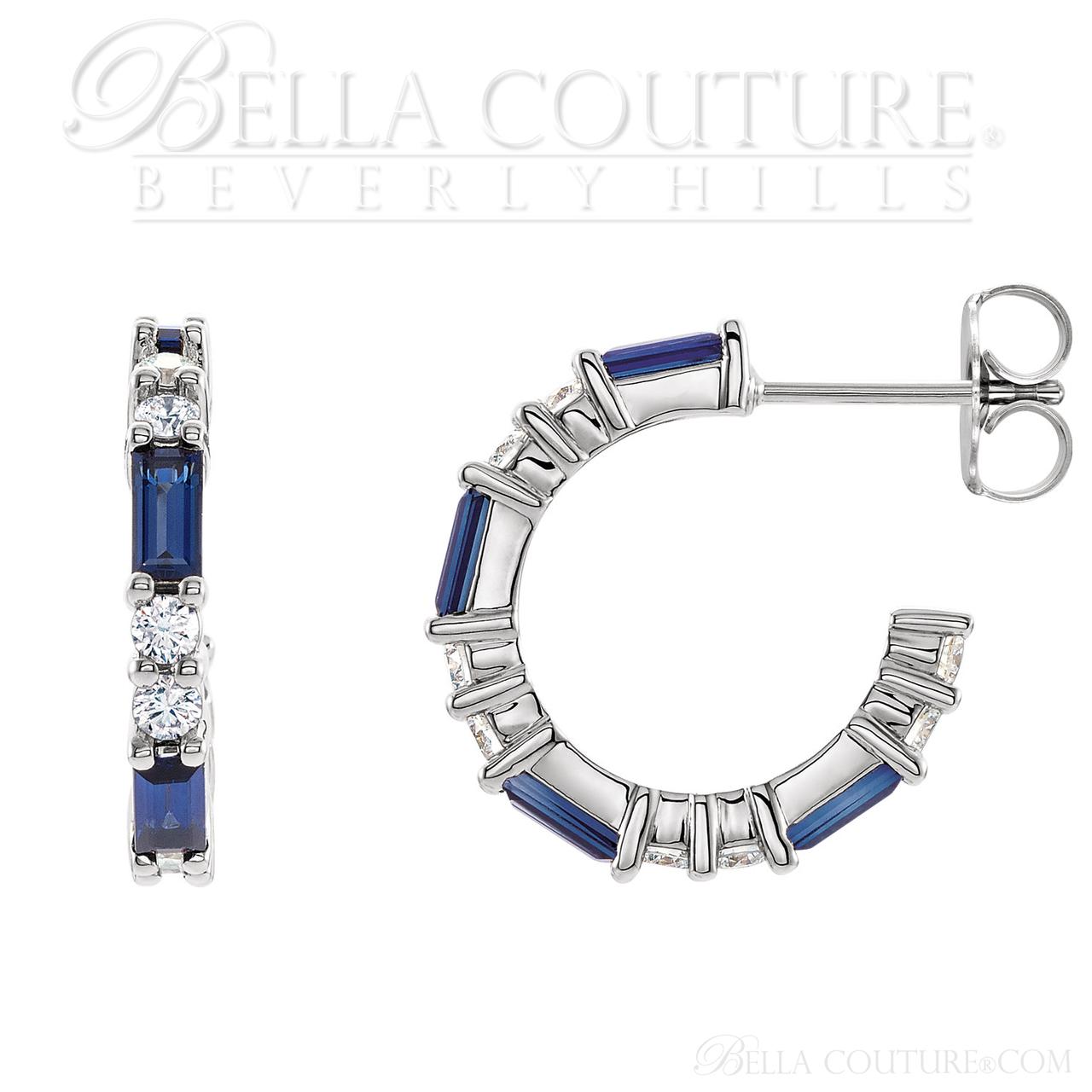 f8c01c80ff3 (NEW) BELLA COUTURE® BAGUETTE GENUINE NATURAL BLUE SAPPHIRE 14K WHITE GOLD  ROUND GEMSTONE ...