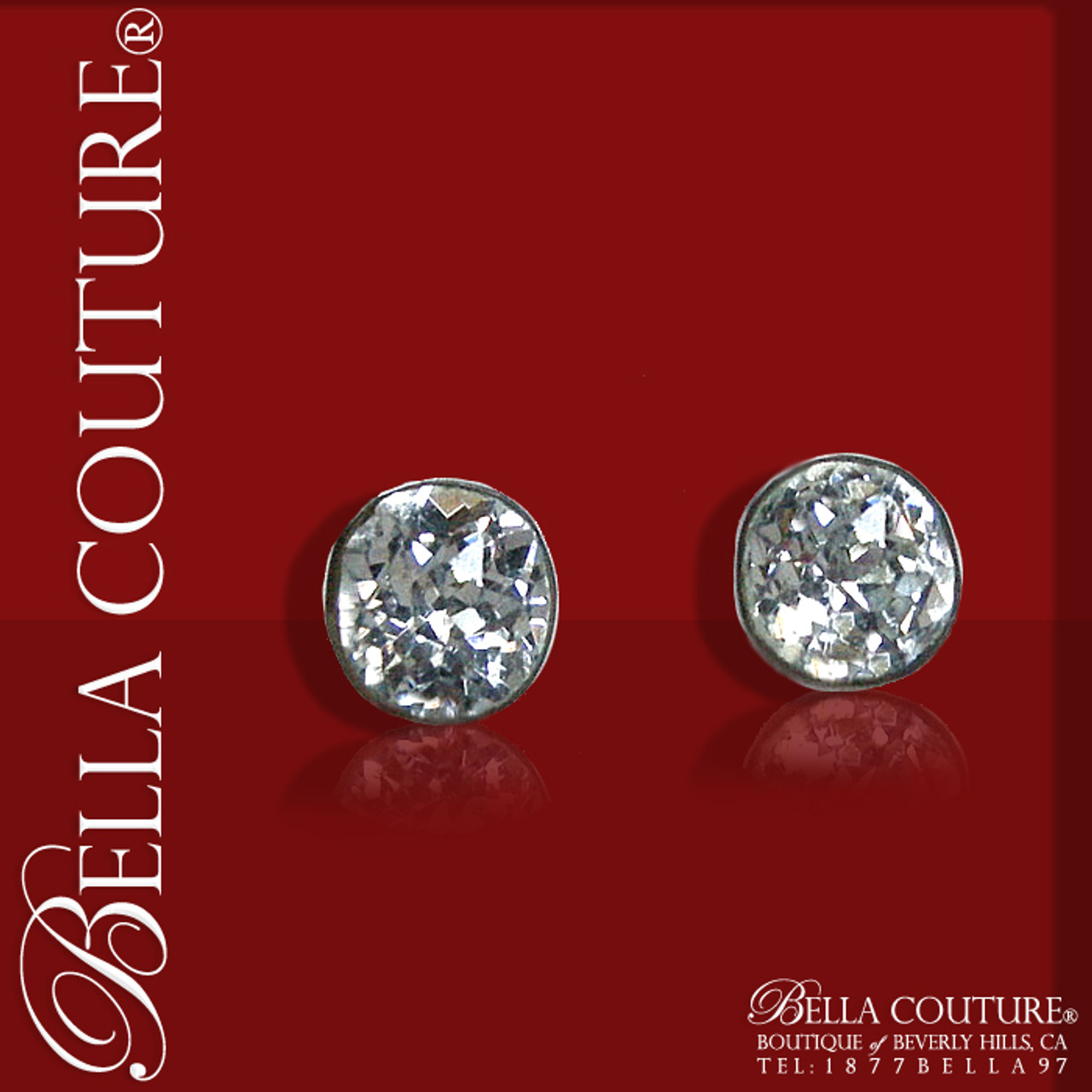 Bella Couture Gorgeous Rare Antique Victorian Mine Cut Faceted Diamond Shaped Rock Crystal Solitaire Studs Sterling Earrings