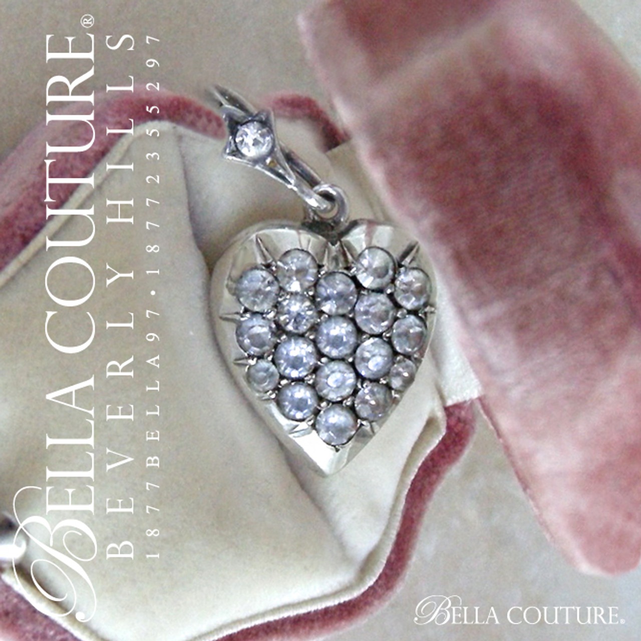 8589224310e59 (ANTIQUE) Gorgeous Rare GEORGIAN Victorian Puffy Heart Sterling Silver  Diamond-Paste Pave Charm Pendant c.1700 - 1840 - BELLA COUTURE ®