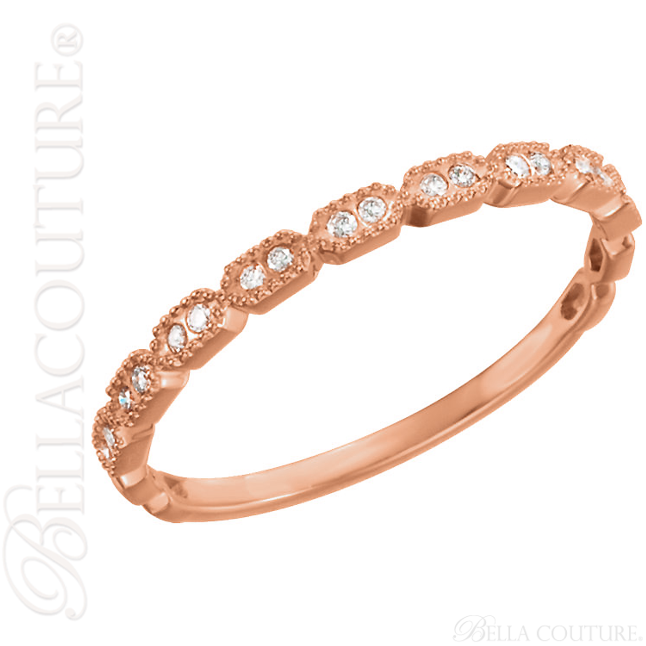 NEW) BELLA COUTURE BELLE Fine Gorgeous Pave\' Double Diamond 14K Rose ...