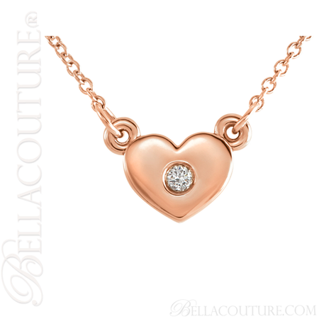 78d38137b55e3 (NEW) BELLA COUTURE LE PETITE BELLA HEART Gorgeous Dainty Fine Diamond 14K  Rose Gold Necklace (16
