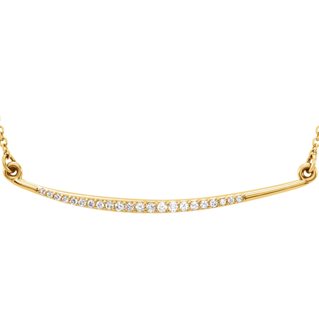 4b937ab8f ... (NEW) BELLA COUTURE Fine Delicate Diamond Curved Bar 14K Yellow Gold  Pendant Necklace ...