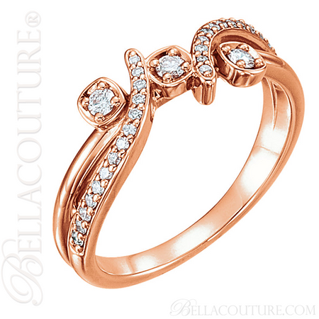 64ac1776c NEW) BELLA COUTURE LILLY Fine Diamond Prong Set 14K Rose Gold ...