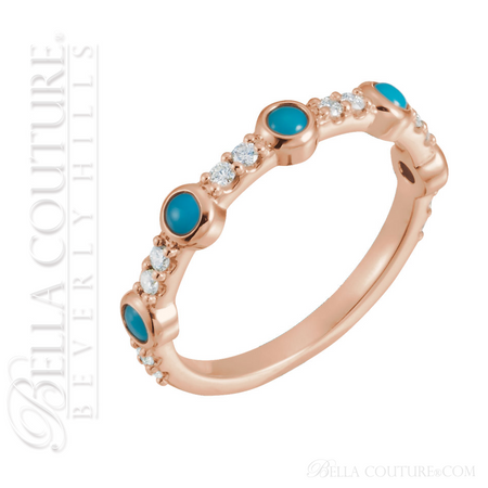 5865590b6084d (NEW) BELLA COUTURE® CARINNA 14K ROSE GOLD GENUINE CABOCHON NATURAL  TURQUOISE DIAMOND RING BAND (1/2 CT. TW.)