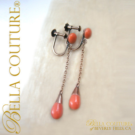 eaecee213 Gorgeous Victorian Antique 9K 9CT Gold Carved Coral Pendant Dangle Drop  Earrings