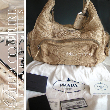 1e91efbc9c66 NEW RARE AUTHENTIC PRADA Beige Python Snakeskin Washed Leather Bag Tote  Handbag Purse ...