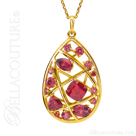 14K Yellow Gold Necklace With Fancy Cut Faceted Garnet Gemstones 18 Inches