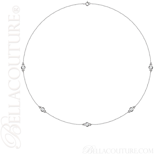 """(NEW) BELLA COUTURE Fine Diamond 5-Station 14K White Gold Necklace (18"""" in Length)(3/4 CT. TW.)"""