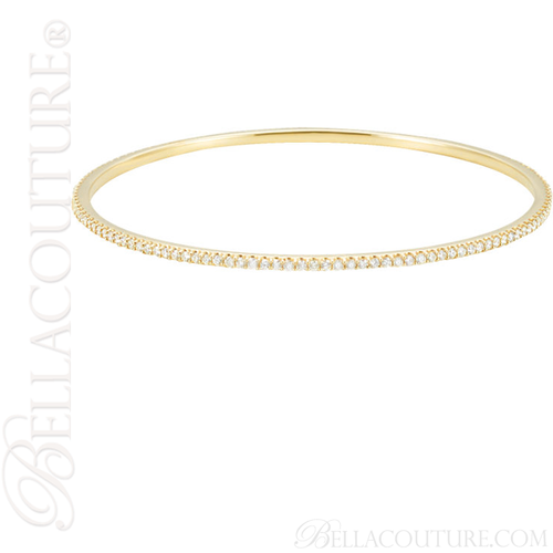 (NEW) BELLA COUTURE STACKABLE FINE PAVE' DIAMOND 14K YELLOW GOLD BRACELET (2 CT. TW.)