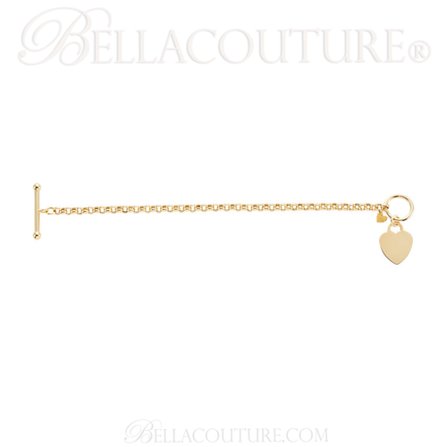 """(NEW) BELLA COUTURE® Fine 14K Solid Yellow Gold Double Heart Rolo Chain Charm Bracelet (4MM Width) (7"""" Inch)"""