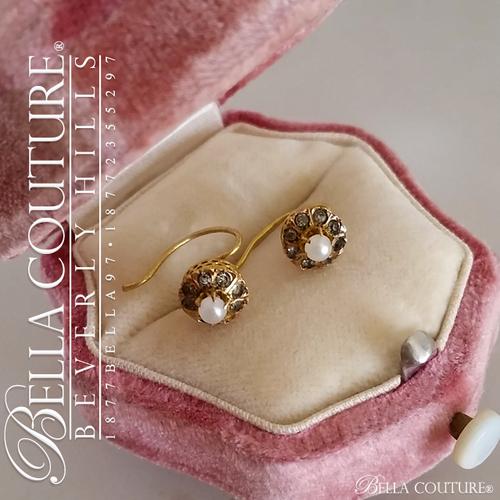 SOLD! - (ANTIQUE) Rare Gorgeous Georgian Victorian Filigree Smokey Quartz Paste Gemstone Cultured Freshwater Pearl 18K Yellow Gold Cluster Earrings c. 1770 - 1838