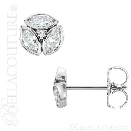 (NEW) BELLA COUTURE De VINE Marquise Cut Diamond PLATINUM™ Bezel Set Stud Earrings (1/2 CT. TW.)