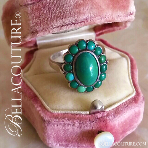 SOLD! - (ANTIQUE) Rare Gorgeous Victorian Natural Persian Turquoise Filigree Sterling Silver Ring c.1838 One of a Kind Fine Jewelry