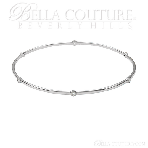 (NEW) BELLA COUTURE ELEGANTE' Gorgeous 6 Diamond 14K White Gold Bezel Bangle Bracelet (1/2 CT. TW.) 8""