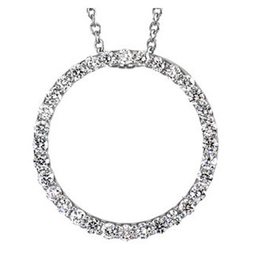"(NEW) Bella Couture Elegant 1/2CT .50CT Diamond Circle Platinum Pendant Necklace with Chain 18"""