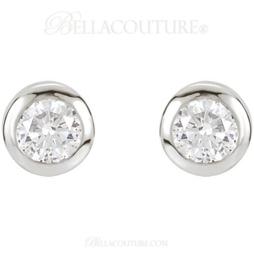 (NEW) Bella Couture Fine 1/2 CT Diamond 14k White Gold Classic Stud Earrings