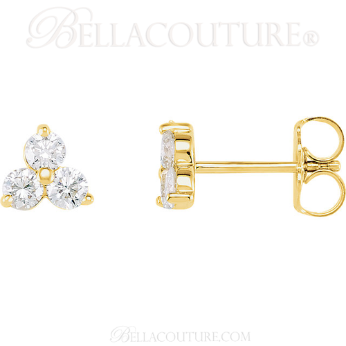 (NEW) BELLA COUTURE DEMI Gorgeous Fine Three-Stone Diamond 14K Yellow Gold Earrings (1/3 ct. tw.)