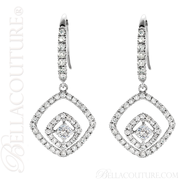 (NEW) BELLA COUTURE HANNAH Gorgeous Fine 1 CT Diamond 14K White Gold Double Dangle Drop  Earrings