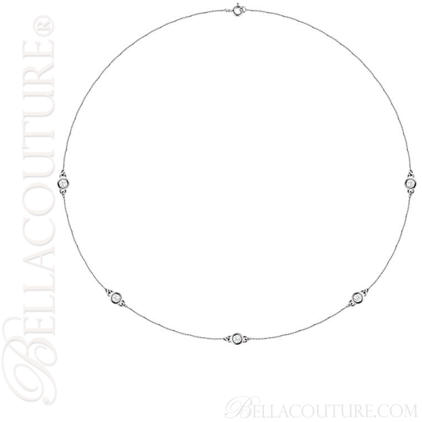 "(NEW) BELLA COUTURE Fine Diamond 5-Station 14K White Gold Necklace (18"" in Length)(3/4 CT. TW.)"