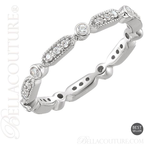 (NEW) BELLA COUTURE FINE GORGEOUS DIAMOND 14K ETERNITY RING (SIZE 7) (1/4 CT. TW.)