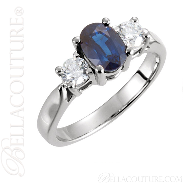 (NEW) BELLA COUTURE PLATINUM BLUE SAPPHIRE DIAMOND ENGAGEMENT / ANNIVERSARY RING