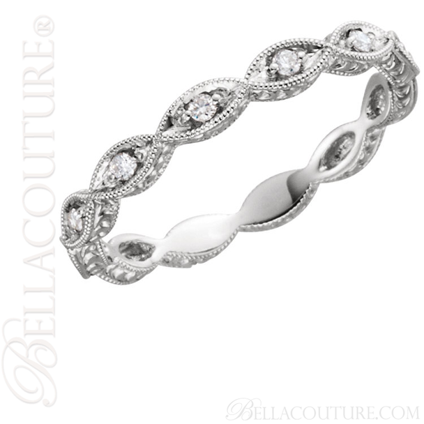 (NEW) BELLA COUTURE FINE GORGEOUS ANTIQUE STYLE DIAMOND 14K WHITE GOLD STACKABLE ANNIVERSARY ETERNITY RING BAND (1/8 CT. TW.)