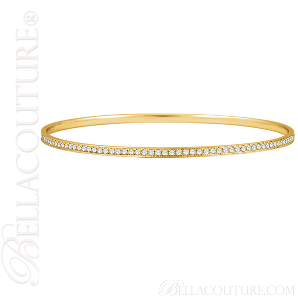 (NEW) BELLA COUTURE FINE GORGEOUS PAVE' DIAMOND 14K YELLOW GOLD BANGLE BRACELET (1 1/2CT. TW.)