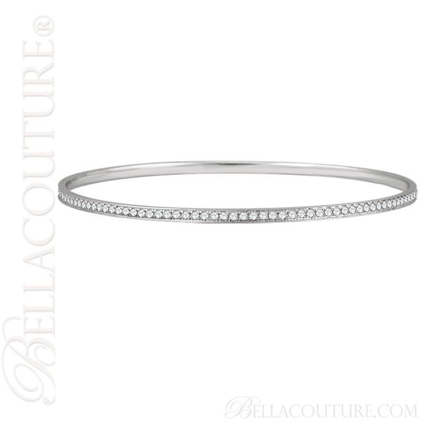 (NEW) BELLA COUTURE FINE GORGEOUS PAVE' DIAMOND 14K WHITE GOLD BANGLE BRACELET (1 1/2CT. TW.)