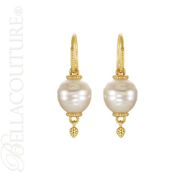 (NEW) BELLA COUTURE ETRUSCAN COLLECTION Fine Elegant 11MM South Sea Cultured Pearl 14K Yellow Gold Dangle Drop Earrings