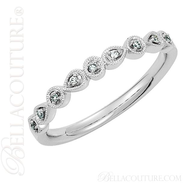 (NEW) BELLA COUTURE SOSA III Fine Diamond 14K White Gold Stackable Ring