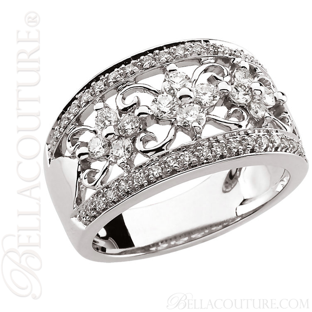 (NEW) BELLA COUTURE CAMI Fine Gorgeous Diamond 14K White Gold Scrolling Open Filigree Delicate Floral Ring Band (3/4 CT. TW.)