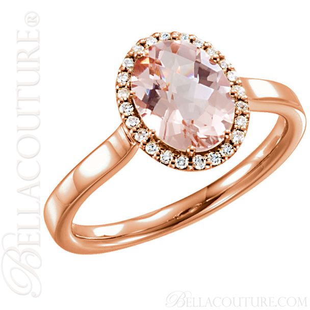 (NEW) BELLA COUTURE PARADISE Fine Gorgeous Oval Pink Morganite Pave' Diamond 14K Rose Gold Ring (1/8 CT. TW.)