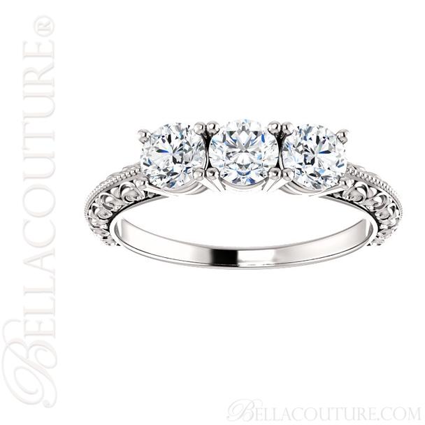 (NEW) BELLA COUTURE Fine Elegant Antique Scroll Design Three Stone Diamond 14K White Gold Engagement / Anniversary Ring Band (1 CT. TW.)