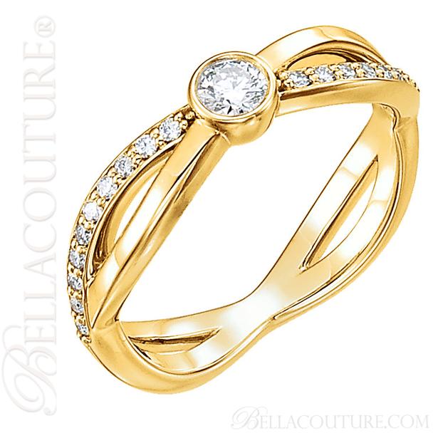 (NEW) BELLA COUTURE BALIENNA Fine Diamond Bezel Set 14K Yellow Gold Ring Band (1/3 CT. TW.)