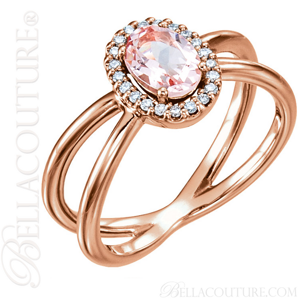 (NEW) BELLA COUTURE MILAN Fine Diamond Genuine Rose Morganite Oval Gemstone 14K Rose Gold Criss Cross Ring (1/10 CT. TW.)
