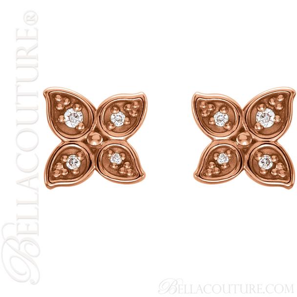 (NEW) BELLA COUTURE La FINA Diamond Flower Petal 14K Rose Gold Post Earrings