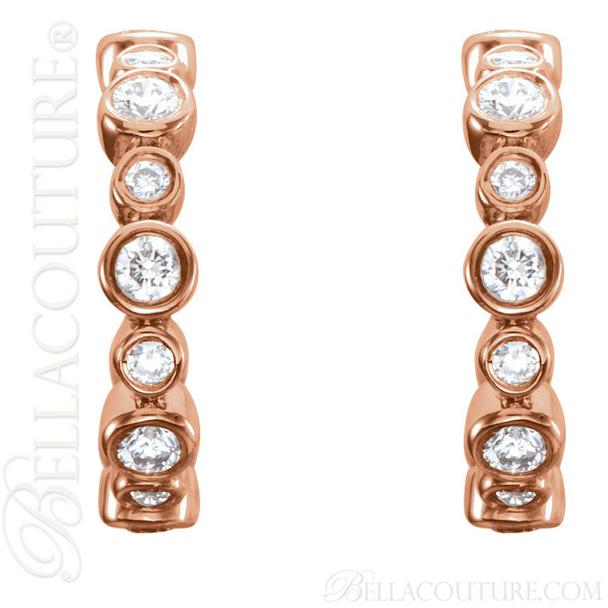 (NEW) BELLA COUTURE CORINA Diamond 14K Rose Gold Graduated Bezel Set Hoop Earrings (1/4 CT. TW.)