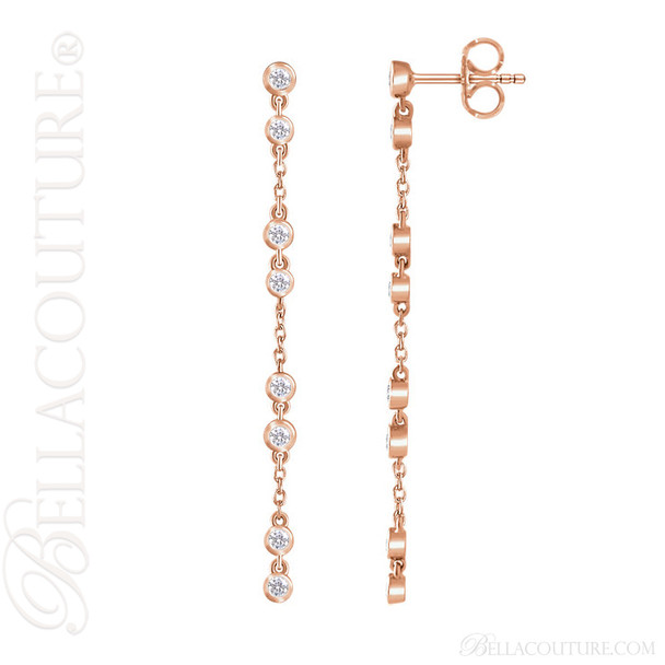(NEW) BELLA COUTURE® WAVERLY Diamond 14K Rose Gold Chain Dangle Drop Chandelier Earrings