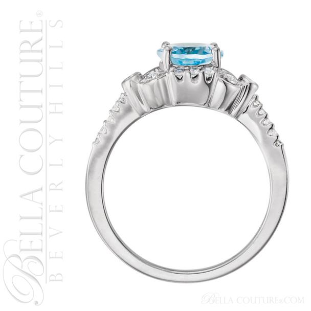(NEW) BELLA COUTURE ® Felicity 14K White Gold Genuine Aquamarine 1/6 CT TW Diamond Ring