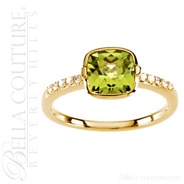 (NEW) BELLA COUTURE ® Ingénue 14K Yellow Gold Genuine Cushion Cut Peridot 1/10 CT TW Diamond Ring