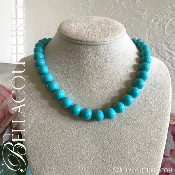 """(NEW) BELLA COUTURE (LIMITED EDITION) STUNNING TURQUOISE 14K GOLD NECKLACE VTG VICTORIAN PERSIAN HUE 12MM (20"""" Inches in Length)"""