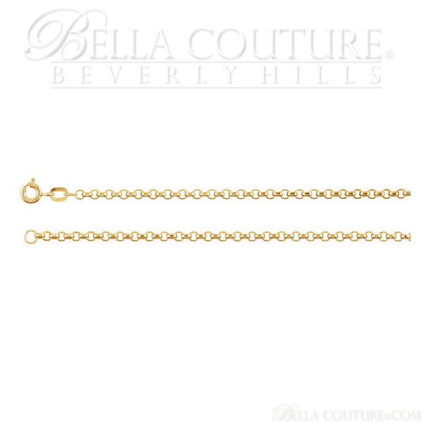 """(NEW) BELLA COUTURE DEANA Gorgeous 14K Yellow 2.5mm Wide Rolo Link Charm Necklace (18"""" Inch)"""