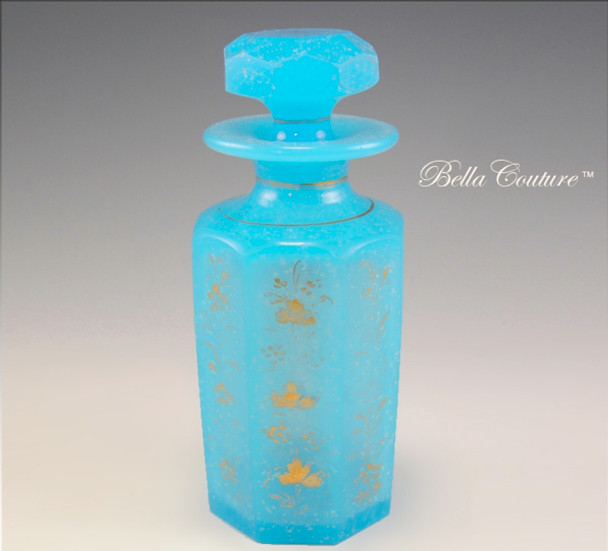 SOLD! - (ANTIQUE) 1800s French Blue Opaline Hand-painted Gold Floral Scent Perfume Bottle