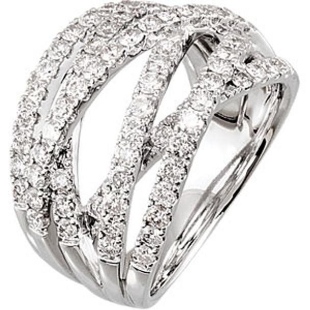 (NEW) Bella Couture 1&1/2 CT Diamond 14K White Gold Ring